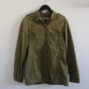 ZARA Trafaluc Olive Green Utility Button Up Jacket